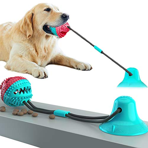 QPQEQTQ Upgrade Suction Cup Dog Toy Pet Molar Bite Toy Dog Chew Toys Interactive Dog Toys Dog Teeth Cleaning Toys Squeaky Tug Toy for Dogs Non-Toxic Durable Dog Toys (RedBlue)