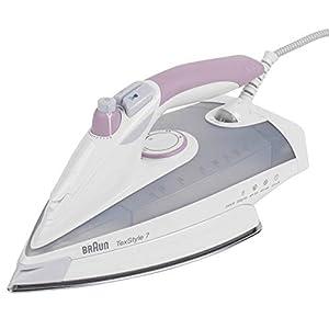 Braun Texstyle 7 TS755 – Plancha ropa vapor, 2400 w, 200gr/min golpe de vapor, depósito 400ml, suela saphir, gris y púrpura