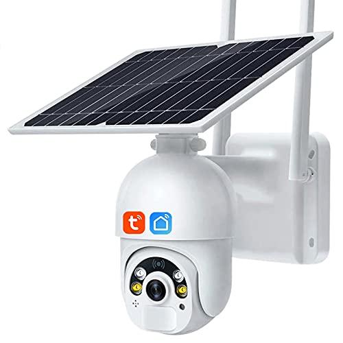 Tuya Smart Life WiFi Cámara inalámbrica, panel solar al aire libre de 8W PTZ, vigilancia de seguridad, movimiento humano, visión nocturna, 1080P, cámara domo HD,Camera+32g