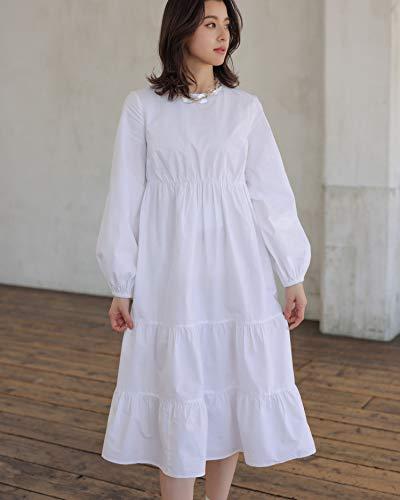 The Drop Vestido para Mujer, Midi, de Manga Larga, Blanco, por @asahina_aya