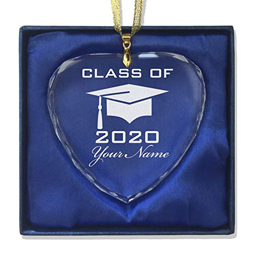 LaserGram Christmas Ornament, Grad Cap Class of 2020, 2021, 2022, 2023, Personalized Engraving Included (Heart Shape)