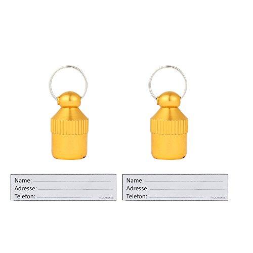 AMATHINGS 2 Stück ! (Doppelpack) Adressanhänger XXS Mini (2 cm Länge) In Gold Für Kleine Hunde Und Katzen Mit Adressetiketten/Wasserdicht/Pillendose/Adresshülse