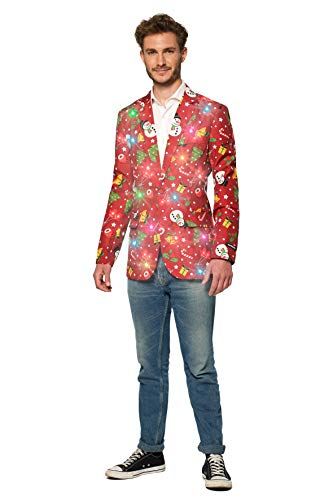 Suitmeister Light-Up Chirstmas Jackets for Men – Christmas Red Icons – Ugly Xmas Sweater Costumes – S