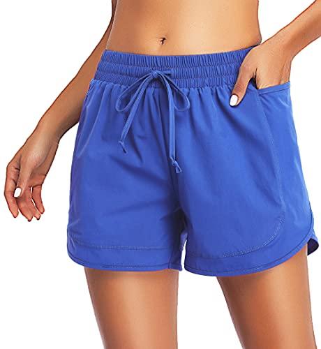 KORALHY Workout Shorts for Women with Pockets, Ladies Activewear Drawstring Running High Waist Athletic Sports Elastic Waistband Sweat-Wicking Basketball Short Royal Blue Medium