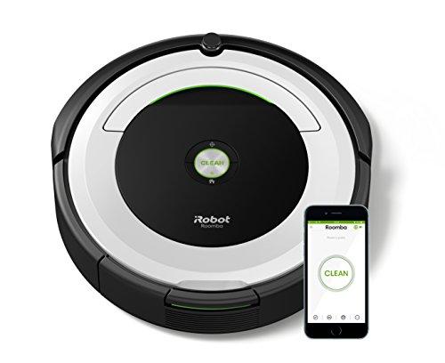 iRobot Roomba 691 Robot Aspirapolvere, Sistema di Pulizia ad Alte Prestazioni con Dirt Detect, Adatto a Pavimenti e Tappeti, Ottimo per i Peli degli Animali Domestici, con Connessione Wi-Fi, Bianco