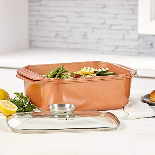 14 In 1 Multi-Use Copper Chef Wonder Cooker with roasting pan and lid, Multi-Use Grill pan (12.5 QT 3 Piece Set)