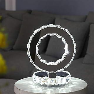 DAXGD Lámparas de mesa de cristal, lámparas LED modernas de acero inoxidable, luz de escritorio redonda de 18 W, iluminación blanca