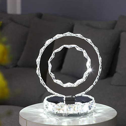 DAXGD Tischlampen aus Kristall, moderne LED-Lampen aus Edelstahl, runde Schreibtischlampe mit 18 W, weißes Licht
