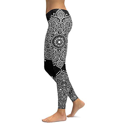 Frauen Sport Leggings,Schwarzes Mandala Fitness Yoga Hosen Damen Sport Leggings Workout Heißes Leggins Sexy Push Up Fitnessstudio Elastische Slim Hose, L Verschleiß