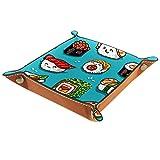rodde Bandeja de Valet Cuero para Hombres - Lindo patrón de Sushi japonés Kawaii - Caja de Almacenamiento Escritorio o Aparador Organizador,Captura para Llaves,Teléfono,Billetera,Moneda