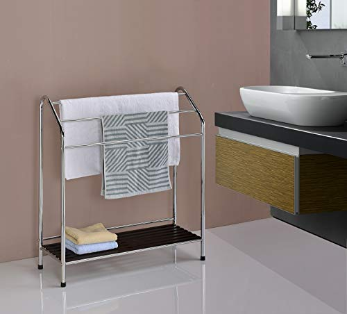 Kings Brand Victory Chrome Free Standing Bathroom Towel Rack Stand with Shelf