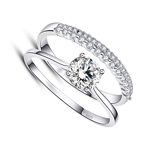 litulituhallo Women's Sterling Silver Wedding Anniversary Ring Set with Round Cut White