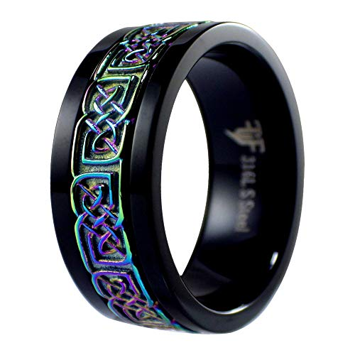 Fantasy Forge Jewelry Black Rainbow Celtic Spinner Ring Womens Mens Stainless Steel Wedding Band Size 5-15 (15)