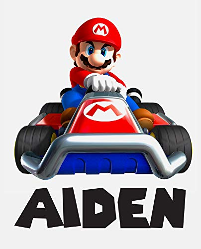 Custom Name Wall Decals Kids Bedroom Wall Decor Art Mario Kart Boys Mural Decal Gift Super Vinyl Wall Stickers Removable (18'H x 15'W)