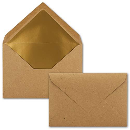 50x - Brief-Umschläge B6 mit Gold Innenfutter - 12,5 x 17,6 cm - Kraft-Papier braun Recycling Nassklebung - Vintage - UmWelt by GUSTAV NEUSER®