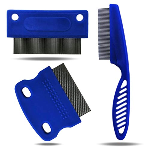 Zanipro Flea Comb & Tear Stain Remover Comb Variety Set - Stainless Steel Bristles for White Dogs...