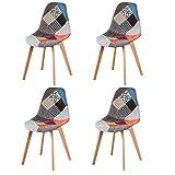 N/A Juego de 4 sillas de comedor, tapizado patchwork retro, comedor, cocina, dormitorio, silla de...