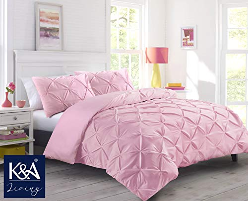 K&A Double Bed Pintuck Pinch Pleat Duvet Cover Bedding Set including 2 Pillowcases, Poly-Cotton Blend, Easy Care Machine Washable UK Standard Double, Pink