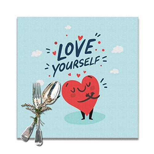 Houity Love Yourself - Set di 6 tovagliette da tavola con Cuoricini, Lavabili e morbide, Facili da Pulire, comode, Pieghevoli, 30,5 x 30,5 cm