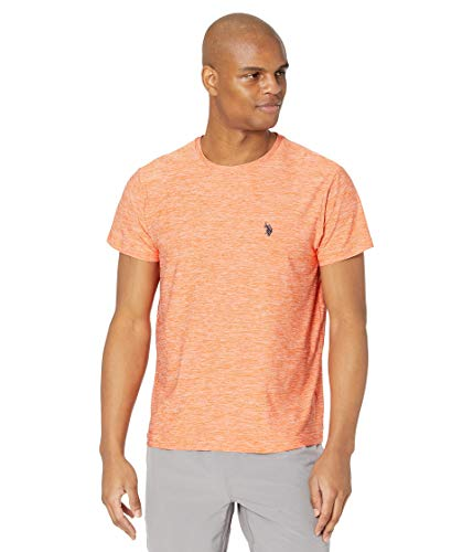 U.S. Polo Assn. Men's Short Sleeve Poly Crew Neck Solid T-Shirt, Bayside Orange, L