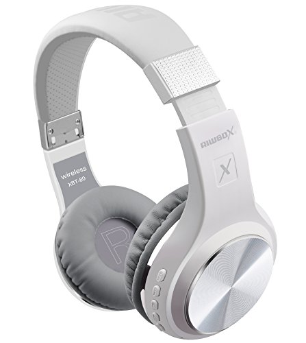 Riwbox XBT-80 Bluetooth hoofdtelefoon, draadloze opvouwbare over-ear met microfoon en volumeregeling, met en zonder kabel, voor pc/mobiele telefoons/tv/iPad Ooromsluiting. Foldable wit zilver.