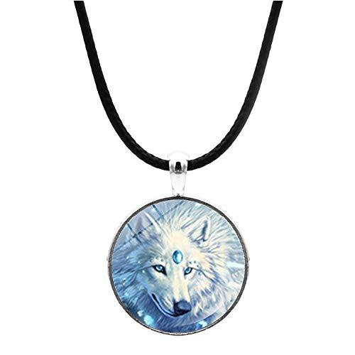 Collar nórdico con colgante de lobo blanco como la nieve, para hombres y mujeres, estilo vintage, cadena de cuero, para niñas y niños, mejores amigos
