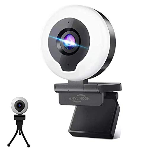2K Webcam with Ring Light & Microphone, Anylincon HD Streaming Web Camera with Tripod AutoFocus Adjustable Brightness PC Video Conference/Call/Teaching/Gaming Laptop/Desktop Mac Zoom/Skype
