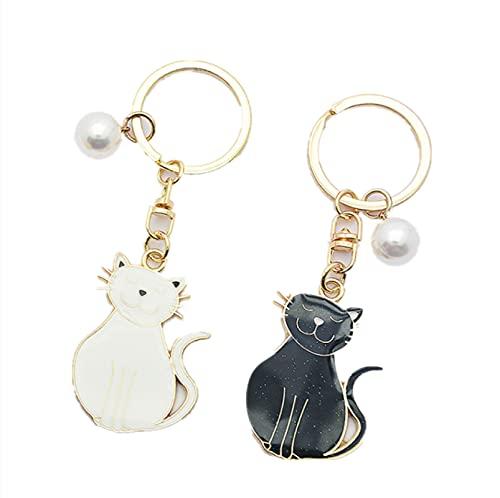 Lindo gato perla llavero pareja colgante creativo coche mochila teléfono móvil llavero...