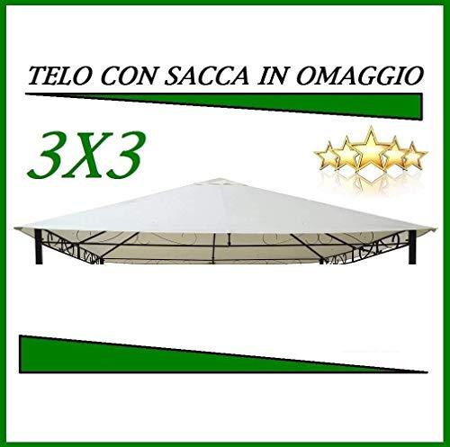 MLI Telo di Ricambio per Gazebo 3X3, Top di Copertura 10058 PVC da 220 gr Ecru con Tetto Camino Antivento Impermeabile Anti Pioggia