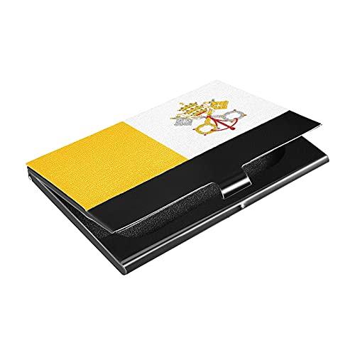 Portatarjetas de acero inoxidable de la bandera de la ciudad del Vaticano, titular de la tarjeta de crédito de cuero sintético, para hombres y mujeres