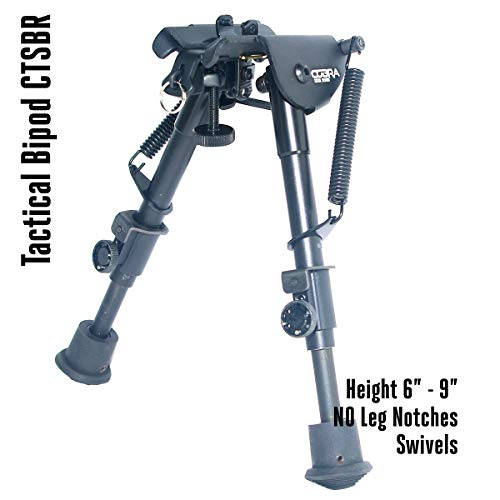 Cobra Tactical Solutions | Tactical Foldable Bipod Adjustable in Height | 6 – 9 Inch | For Airsoft Hunting Varmint Air Rifle Shooting Bench Rest | Equals Harris HBR