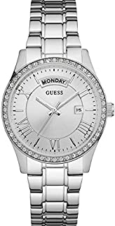 Guess Dress Watch Analog Display Japanese Quartz For Women W0764L1, Silver Band
