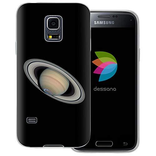 dessana Planeten transparente Schutzhülle Handy Case Cover Tasche für Samsung Galaxy S5 Mini Saturn