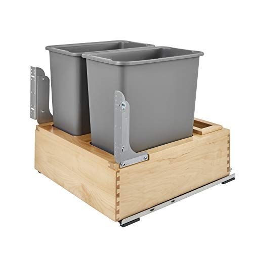 Rev A Shelf 4WC-24DM2-SC Heavy Duty Double 30 Quart Easy Installation Mounted Pullout Waste Container Bin, Gray