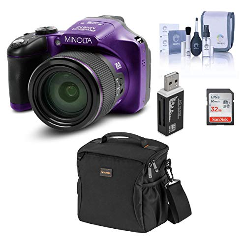 Minolta MN67Z 20MP Full HD Wi-Fi Bridge Camera with 67x Optical Zoom, Purple - Bundle with Shoulder Bag, 32GB SDHC Memory Card, Cleaning Kit, Card Reader