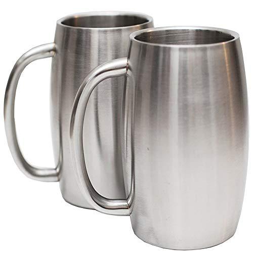 FMM Neue Bierkrug Doppel Edelstahl Weinglas Europa und Amerika großen Bauch Bierkrug Kaffeetasse Weinglas Weinglas Trinkbecher