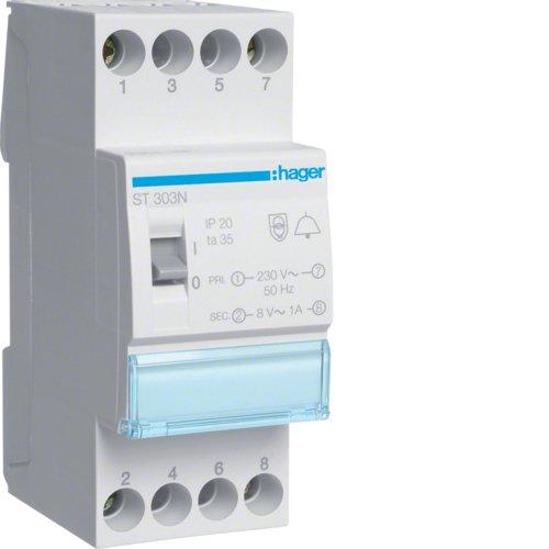 Hager ST303N Klingeltrafo 230V/8V 8VA m. Schalter 2PLE