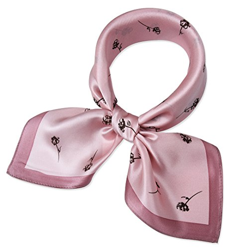 corciova Women 100% Mulberry Silk Neck Scarf Small Square Scarves Neckerchiefs Pink Leaflet Round Bell Grass