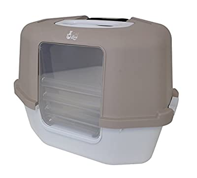 Cat Love Space Saver Corner Hooded Cat Pan, taupe/tan.