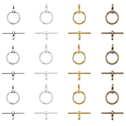 SUPERFINDINGS 200 Juego 4 Colores 12 mm Cierres de Palanca de Anillo Joyas Tibetanas Cierres de Palanca Aleación Broche de Joyería Grande para Collar Pulsera Fabricación de Joyas