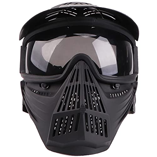 Senmortar Airsoft Mask Full Face Tactical Masks Protection Gear for Halloween CS Game Costume Accessories Motocross Cosplay Black & Grey