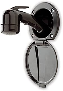 Ambassador Marine Plastic Lid/Cup Recessed Shower Kit with No Hook Small Black Sprayer and 6-Feet Hose