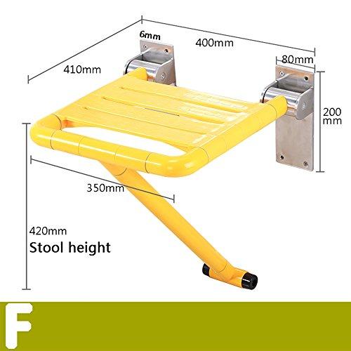 Chaise de pliage de sécurité sans barrières vieille salle de bain baignoire chaises de changement de douche accoudoir chaise chaise salle de bain assise selle (Couleur : Le jaune, taille : F)