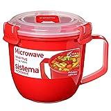 Sistema - Taza de sopa para microondas, plástico, rosso, 565 ml