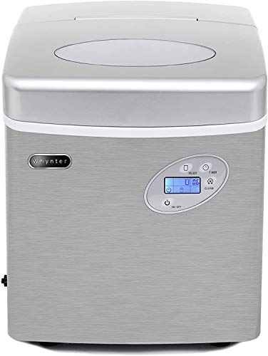 Whynter IMC-491DC Portable 49lb Capacity Ice Makers Stainless Steel with Water Connection