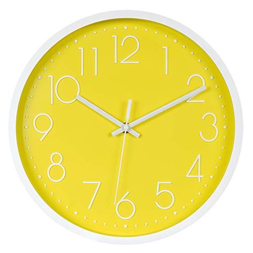 Werldbm Reloj de Pared silencioso Moda Creativa Sala de Estar Reloj Digital estéreo, 12 Pulgadas (30 cm), Marco Blanco Amarillo