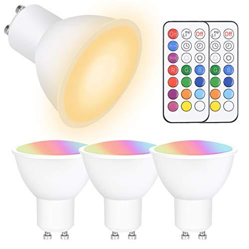 Vicloon GU10 LED Farbwechsel Lampe, 4 Stück 5W GU10 Farbwechsel Glühbirne mit Fernbedienung, RGBW, Dimmbar, 450LM, AC 100V - 265V, GU10 Farbwechsel Spotlight für Haus Dekoration, Bar, Party, KTV Bühne