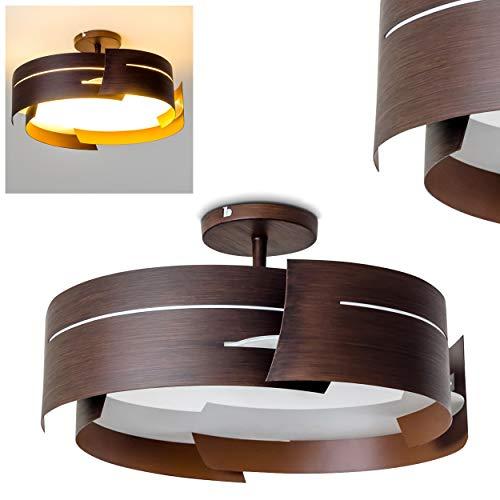 Deckenleuchte Novara, runde Deckenlampe aus Metall/Glas in Braun/Weiß, 3-flammig, 3 x E27-Fassung, max. 60 Watt, Spot in Holzoptik, für LED Leuchtmittel geeignet