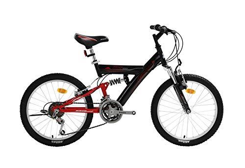 T&Y Trade 20 Zoll Kinder Jungen Mädchen Fahrrad Kinderfahrrad MTB Mountainbike Fahrrad Rad Bike 10 Gang Beleuchtung Fully VOLLFEDERUNG KDS 2600 ROT SCHWARZ