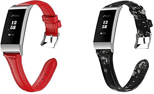 Classicase Compatible con Fitbit Charge 4 / Charge 4 SE/Charge 3 SE/Charge 3 Correa de Reloj De Cuero para Mujer (Pattern 8+Pattern 9)